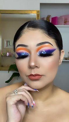 Baddie Makeup, Sexy Makeup, Prom Makeup, Makeup Art, Makeup Ideas, Beauty Makeup, Hair Makeup, Colorful Eyeshadow, Colorful Makeup