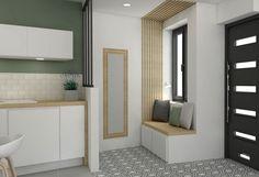 Porte noire vitrée moderne + miroir + banquette bois