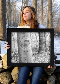 Personalized Carved Tree Art Print- Unique Couples Gift by PictureItPersonal