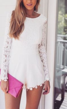 White Plain Open Back Zipper Round Neck Long Sleeve Lace Jumpsuit With Girly Outfits, Fashion Outfits, Fashion Hub, Fashion Addict, Spring Fashion, Lace Jumpsuit, Playsuits, Jumpsuits, Little White Dresses