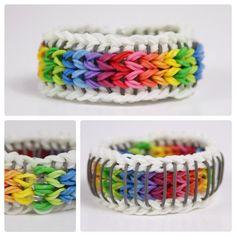 Custom Order Sailors Pinstripe Rainbow Loom Bracelet really cool Rainbow Loom Patterns, Rainbow Loom Bands, Rainbow Loom Charms, Rainbow Loom Bracelets, Loom Band Bracelets, Rubber Band Bracelet, Macrame Bracelets, Loom Love, Fun Loom