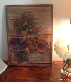 Abstract trumpet jazz art on reclaimed wood