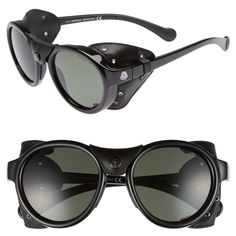 Men's Moncler 52Mm Polarized Round Leather Shield Sunglasses ($610) ❤ liked on Polyvore featuring men's fashion, men's accessories, men's eyewear, men's sunglasses, shiny black, men's shield sunglasses, mens eyewear, mens round frame sunglasses, mens sunglasses and mens round sunglasses