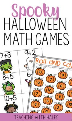Halloween Math Games for Kindergarteners and First Graders Subtraction Activities, Math Worksheets, Math Games, Math Activities, Halloween Math, Halloween Activities, Holiday Activities, Activities For 1st Graders, Back To School Activities