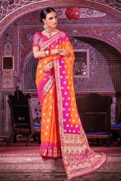 Nylon Silk Saree With Nylon Silk Blouse In Orange And Pink Color - DMV15181