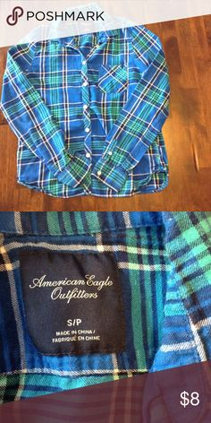 American Eagle Outfitters Flannel Size S Blue and teal flannel shirt in great condition. This would look super cute with jeans or shorts and is really soft. American Eagle Outfitters Tops Button Down Shirts