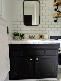 Best Absolutely Free Bathroom Makeover industrial Strategies In relation to the second-hand cost of an household, redesigning your bathroom is possibly one of th Industrial Bathroom, Industrial Farmhouse, Hobby Lobby Mirrors, Bathroom Furniture, Bathroom Ideas, Bathroom Updates, Hall Bathroom, White Bathroom, Masculine Bathroom