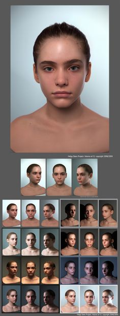 One head, Different lightning examples. Helpful for artists.