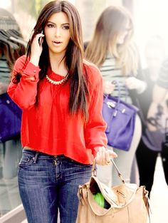 Love the Blue Jeans w/ red blouse.. very cute.