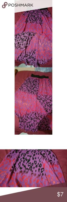 Leopard Print Purple & Pink High Low Skirt CUTE & FLOWY HIGH LOW SKIRT! Super cute for Spring!! Has an elastic band at the waist, so it stretches quite a bit! Size is  Small (3-5)! No Boundaries Skirts High Low