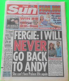 THE SUN NEWSPAPER - 26 Sep 1994 - Sarah Ferguson