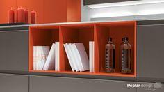 Poplar Y - Silver brown & Brick red #modern #handleless #grey #orange #kitchen #openshelving #pigeonhole