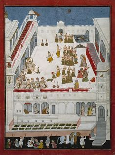 Maharana Jagat Singh II and Nobles Watching the Raslila Dance Dramas Date 	1734/1742