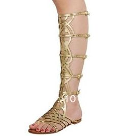 Faux Leather Flats Over Knee High Buckle Gladiator Open Toe Strappy Sandal Shoes 2014 New Black Red White Blue Brown Beige