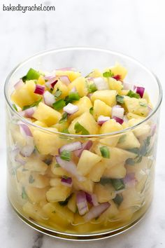 Sweet and spicy pineapple salsa recipe from @bakedbyrachel