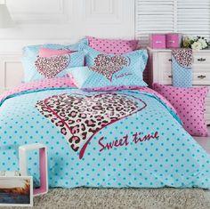 Beautiful Cute leopard with dots print light Blue 4 Piece Bedding Sets