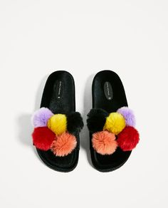 VELVET SANDALS WITH POMPOMS-View all-SHOES-WOMAN | ZARA United States