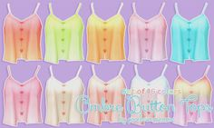 """pixelsimdreams:  """" ♦⁴ Ombre Button Tops  Hey loves, here is some pretty ombre buttoned up tank top recolors. Enjoy! :3  -NOTE-  •  Requires movie hangout.  • All in one file.  • 16 tops.  -TOU-  Please do not re-upload, modify, or claim as your own thank..."""