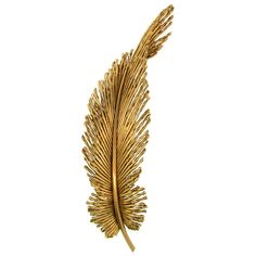 PIERRE STERLE Yellow Gold Feather Pin