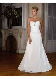 Beautiful Elegant Exquisite Sweetheart A-line Tffeta Wedding Dress In Great Handwork Sale On LuckyDresses.com With Top Quality And Discount