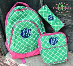monogram backpack and lunchbox Cute Backpacks, School Backpacks, School Shopping, Shopping Spree, Justice Backpacks, Monogram Backpack, Back To School, School Stuff, Middle School