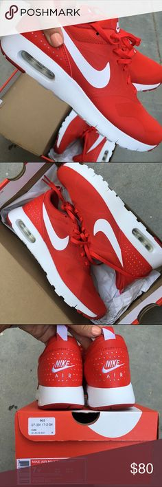 NWB ❤️ NIKE TAVAS SIZE 7 youth / 8.5 women NEW never worn, Nike TAVAS ❤️ SIZE 7 youth. in a beautiful true red   If you are and adult ordering please be familiar with what size you wear in youth / grade school nikes before ordering. 7 youth is approx size 8.5 in women's.  Ships same or next day from my smoke free home with original box. Box is is perfect condition.   Bundle items to save.   PRICE IS FIRM. Please check out my other Nike listings! Nike Shoes Athletic Shoes