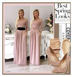"""""""Desir Vale 16"""" by k-lole ❤ liked on Polyvore featuring H&M, Head Over Heels by Dune, maxi, women, champagne, styleicon and plus size dresses"""