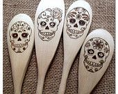 Custom Wood Burned Sugar Skull Spoons, Dia de los Muertos, Day of the Dead, new apartment or housewarming gift idea, set of 4