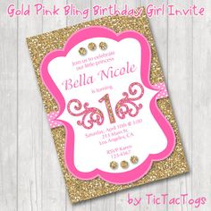 pink and gold party invitations - Buscar con Google