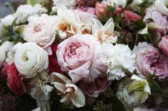 Ranunculus and roses. Gorgeous soft colours