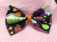 Halloween Glitter Cupcake Treats Fabric Hair Bow