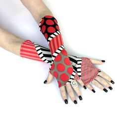Retro Time Fingerless gloves  arm warmers  mittens  by WearMeUp, $19.00