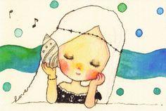 きこえるよ☆[mushroom]ポストカード☆女の子・貝殻