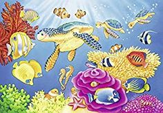 The colorful, exotic world of the ocean depths is beautifully portrayed in this educational floor puzzle. tall and filled with fascinating flora and aquatic fauna; children will love exploring and learning with this detailed floor puzzle. Jigsaw Puzzles For Kids, Puzzles For Toddlers, Underwater World, Tropical Fish, Under The Sea, Flora, Exotic, Kids Rugs, Artwork