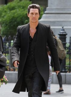 """Actor Matthew McConaughey on set of his new movie """"The Dark Tower"""" in New York City, NY on June 30, 2016. Mathew looked rather sharp and intimidating in his black stylish trench coat and all black attire. """"The Dark Tower"""" is directed by """"Nikolaj Arcel"""" and is an adaption to the Stephen King novels."""