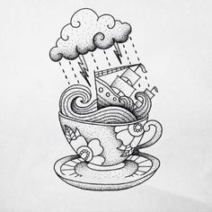 Storm-In-Teacup-Black-And-White-Tattoo.jpg (604×604)
