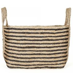 Saba Jute Basket - Stripe - Medium Size  These beautiful jute baskets have been completely handwoven by women working within the Fair Trade program run by our partner in Bangladesh. These talented women combine traditional weaving styles with contemporary designs and using natural materials.      A beautiful & timeless piece for those who appreciate natural fibres and handcrafted work. Our baskets are durable, eco-friendly and versatile.