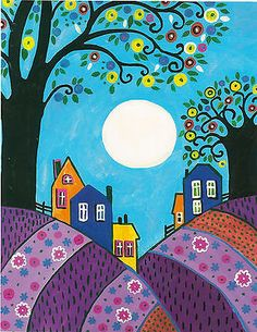 Impresión Arte Popular 8x10 de árboles Pintura Ryta Lavanda Hills casas Luna Abstracta