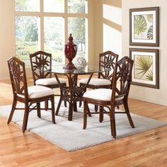 Hospitality Rattan Cancun Palm Indoor 5 Piece Wicker 42 In Round Dining Set
