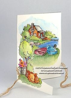 LAKE HOUSE 4 pc SET MAKES TRY FOLD CARDS or you can use the 4 stamps by themselves to make other cards. Made by Art Impressions Rubber Stamps. You can purchase these in my ebay store. Click on picture & it will take you into this listing. Use my search engine to find other items . My ebay Store is: Pat's Rubber Stamps & Scrapbooks or call me 423-357-4334 with order. We take PayPal. You get free shipping with $30.00 or more on phone orders