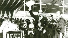 George Borg Olivier, Prime Minister of Malta, waving the independence instruments  50 years ago.