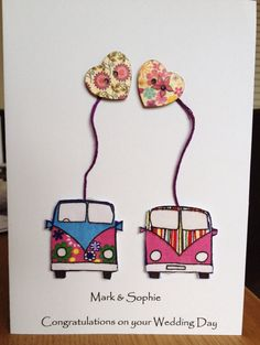 Campervan Button art wedding card handmade on Etsy, £3.50