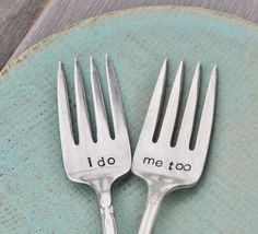 I do Me too Vintage Wedding Cake Fork Set by jessicaNdesigns