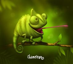 Chameleon by Sergey Kardakov, via Behance Reptiles, Lizards, Funny Animals, Cute Animals, Monster Coloring Pages, Doodle Characters, Cartoon Monsters, Art Corner, Character Design Animation