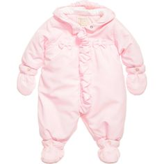Emile et Rose Baby Girls Pink Padded 'Fern' Pramsuit at Childrensalon.com