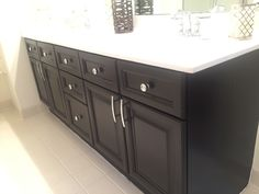 Bathroom vanity makeover with general finishes gel stain