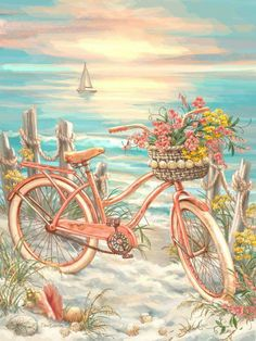 """Dispaint Full Square/Round Drill DIY Diamond Painting """"Bicycle flower scenery"""" Embroidery Cross Stitch Home Decor Gift Bicycle Painting, Bicycle Art, Art And Illustration, Art Plage, Decoupage Vintage, Mosaic Crafts, Beach Art, Oeuvre D'art, Art Drawings"""