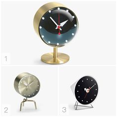 George Nelson desk clocks for Vitra. 1. Night clock 2. Tripod clock 3. Cone clock. Click on the image to see more mid-century designs!