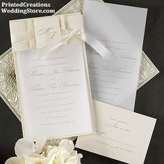 Gilded Lilies Signature White Wedding Invitations in Aloe or