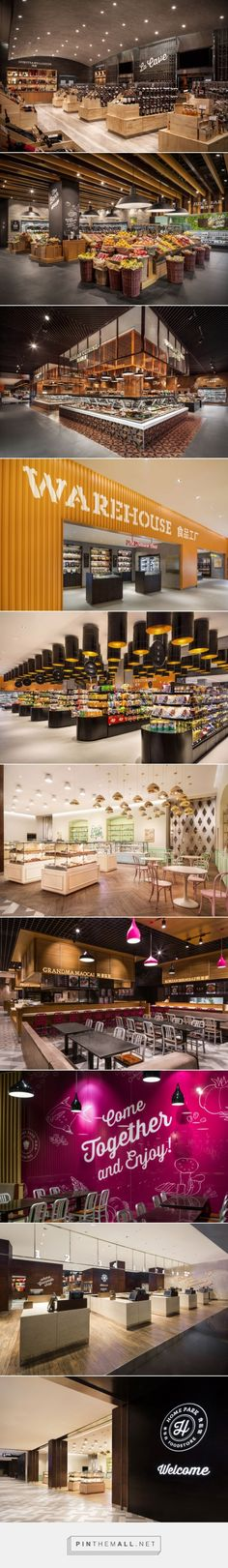 If I had a restaurant, it would be starry night caravan or Art Deco luxe smoky hideaway with cappuccinos. This is Home Park Food Store by TRIAD China, Harbin Retail Interior Design, Retail Store Design, Commercial Design, Commercial Interiors, Commercial Lighting, Espace Design, Fruit Shop, Food Retail, Harbin